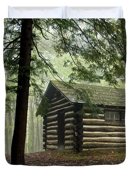 Misty Morning Cabin Duvet Cover