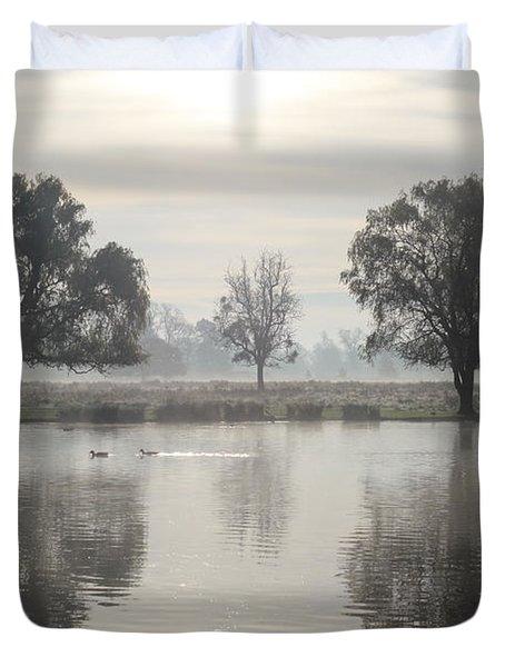 Misty Morning In Bushy Park London 2 Duvet Cover