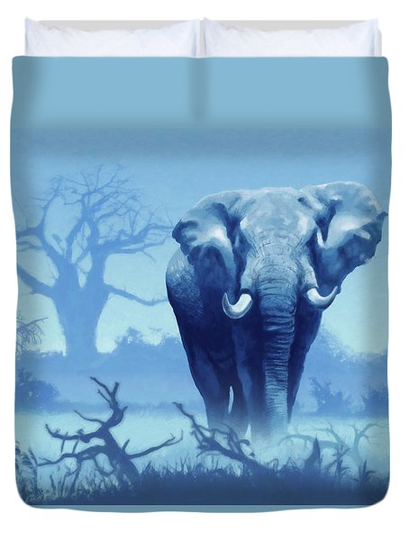 Misty Blue Morning In The Tsavo Duvet Cover