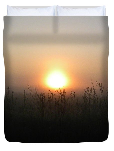 Duvet Cover featuring the photograph Misty Morning by James Petersen