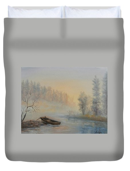Duvet Cover featuring the painting Misty Morning by Katalin Luczay