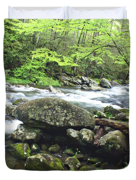 Misty Morning On The River Duvet Cover by Marty Koch