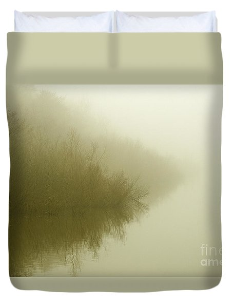 Misty Morning Reflection. Duvet Cover