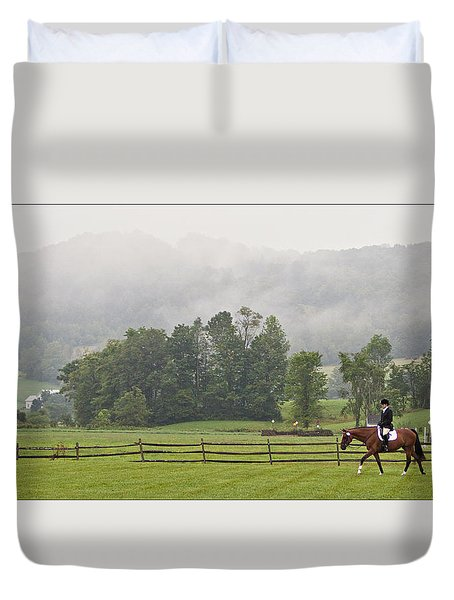 Misty Morning Ride Duvet Cover