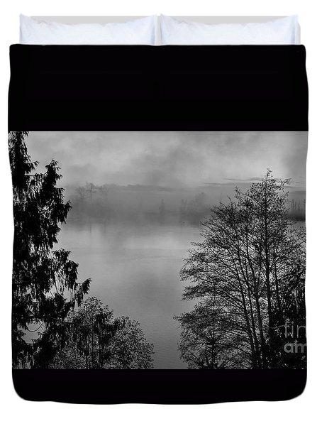 Misty Morning Sunrise Black And White Art Prints Duvet Cover