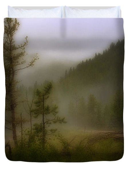 Duvet Cover featuring the photograph Misty Mountain by Ellen Heaverlo