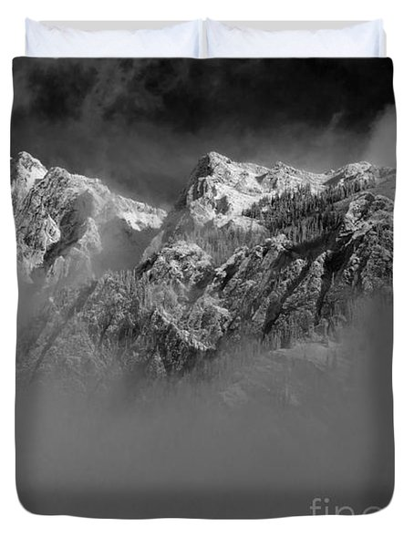 Misty Mountains In Mono Duvet Cover
