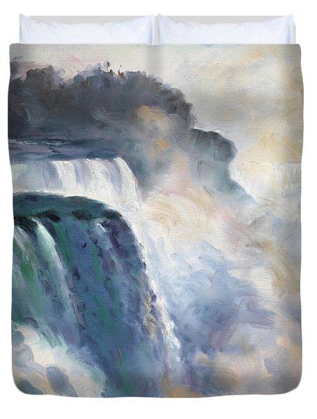 Misty Niagara Falls Duvet Cover by Ylli Haruni