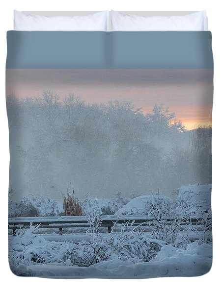 Misty Snow Morning Duvet Cover