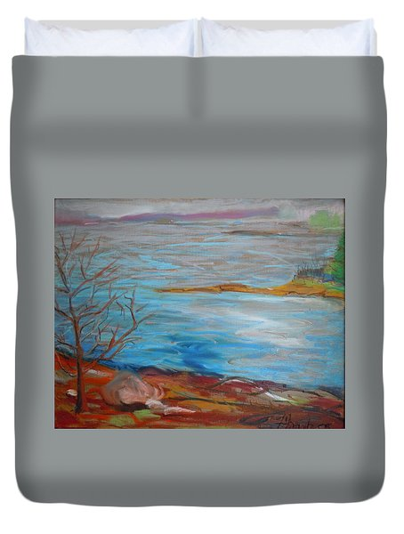 Duvet Cover featuring the painting Misty Surry by Francine Frank