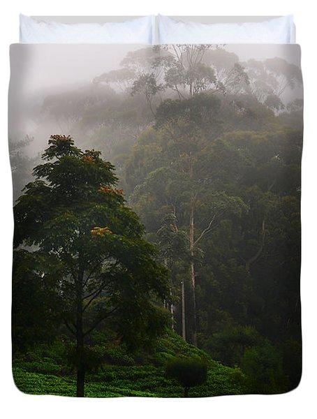 Misty Tea Plantations In Nuwara Eliya  Duvet Cover by Jenny Rainbow