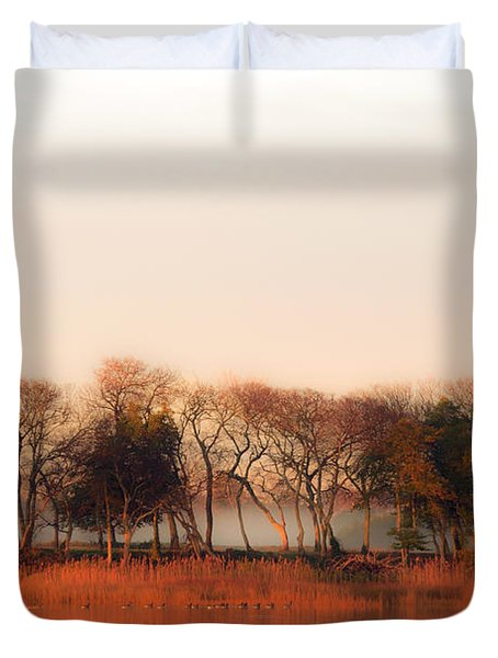 Misty Winter's Morning Duvet Cover