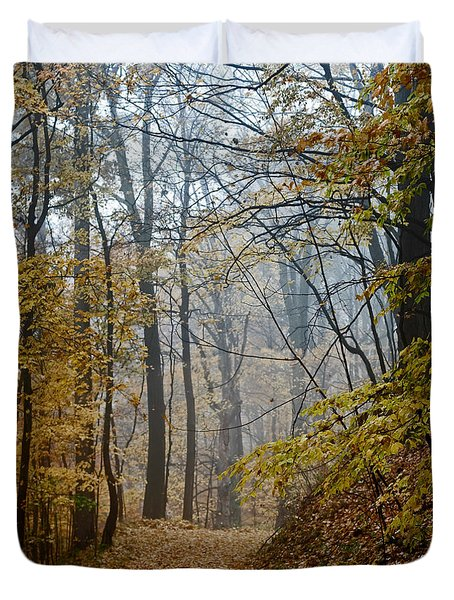Misty Yellow Duvet Cover by Barbara McMahon
