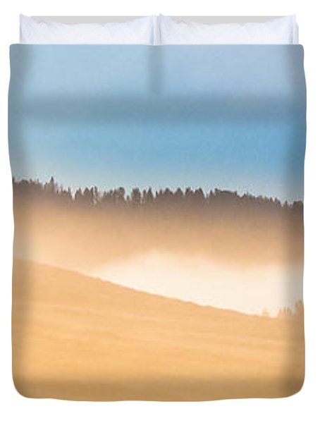 Duvet Cover featuring the photograph Misty Yellowstone   by Lars Lentz