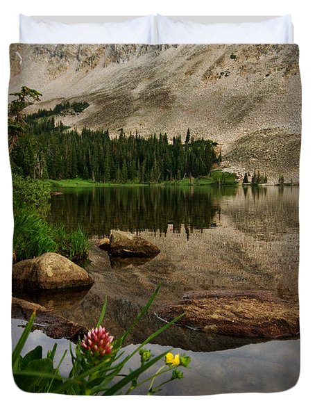 Mitchell Lake Reflections Duvet Cover