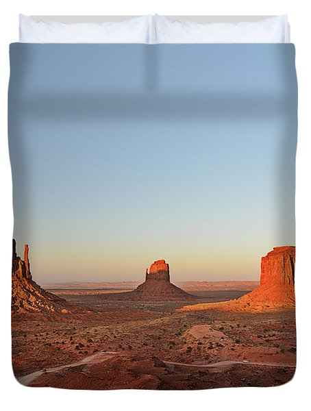 Mittens And Merrick Butte Monument Valley Duvet Cover by Christine Till