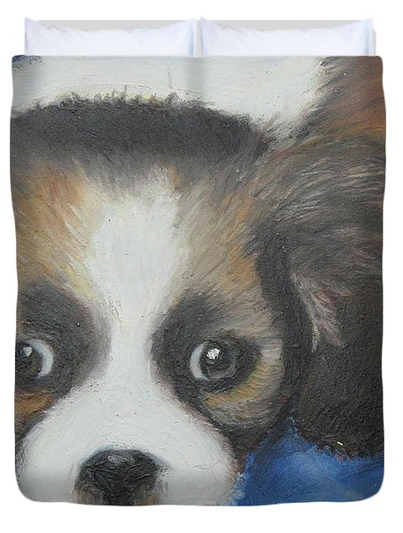 Duvet Cover featuring the painting Mitzy by Jeanne Fischer