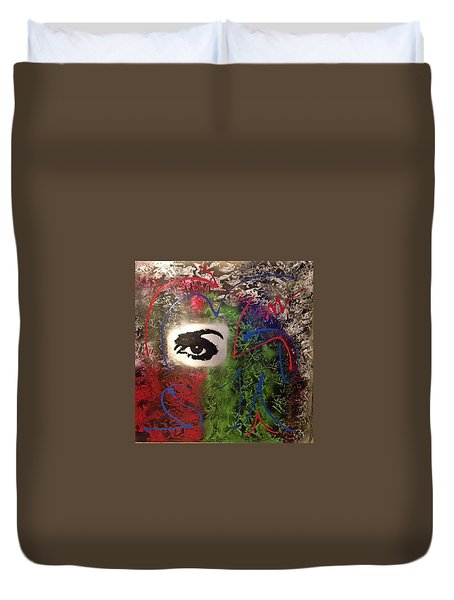 Mixed Media Abstract Post Modern Art By Alfredo Garcia Eye See You 2 Duvet Cover