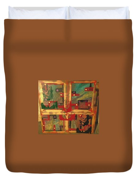 Mixed Media Abstract Post Modern Art By Alfredo Garcia The Blond Bombshell 3 Duvet Cover