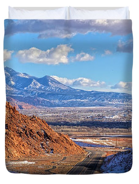 Moab Fault Medium Panorama Duvet Cover by Adam Jewell