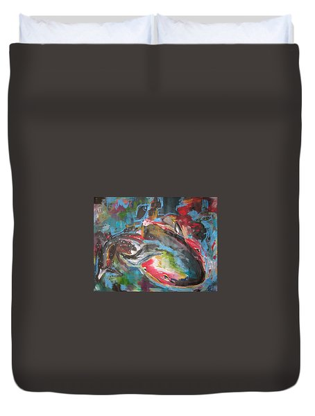 Mobie Joe The Whale-original Abstract Whale Painting Acrylic Blue Red Green Duvet Cover by Seon-Jeong Kim
