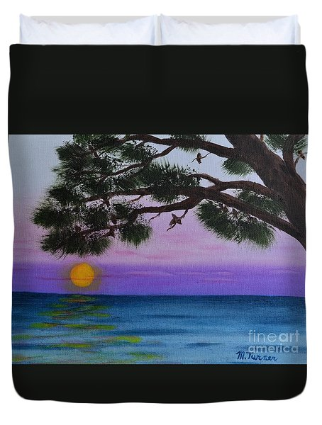 Mobile Bay Sunset Duvet Cover by Melvin Turner