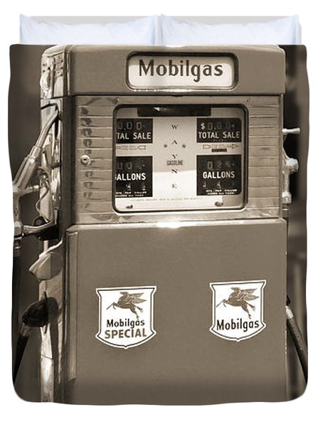 Mobilgas - Wayne Double Gas Pump 2 Duvet Cover by Mike McGlothlen