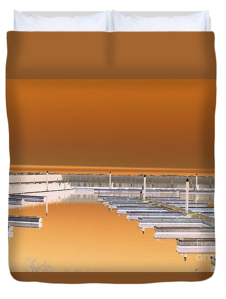Duvet Cover featuring the photograph Mocha Dock by Richard Ricci