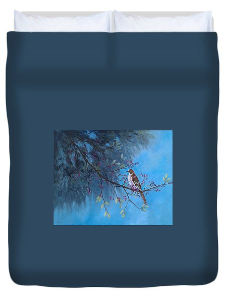 Duvet Cover featuring the painting Mockingbird Happiness by Suzanne Theis