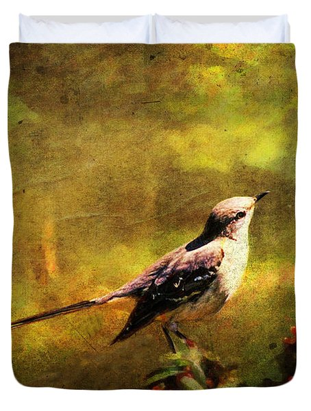 Mockingbird Have You Heard... Duvet Cover by Lianne Schneider