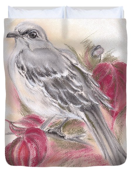 Mockingbird In Autumn Dogwood Duvet Cover