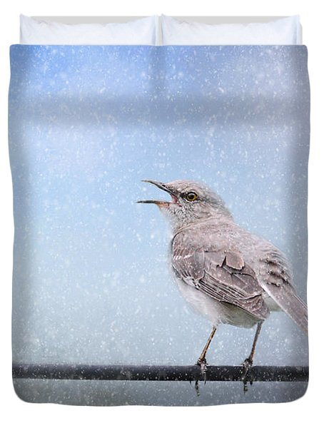 Mockingbird In The Snow Duvet Cover by Jai Johnson