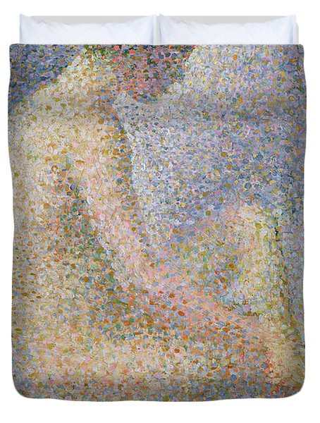 Model In Profile Duvet Cover by Georges Pierre Seurat