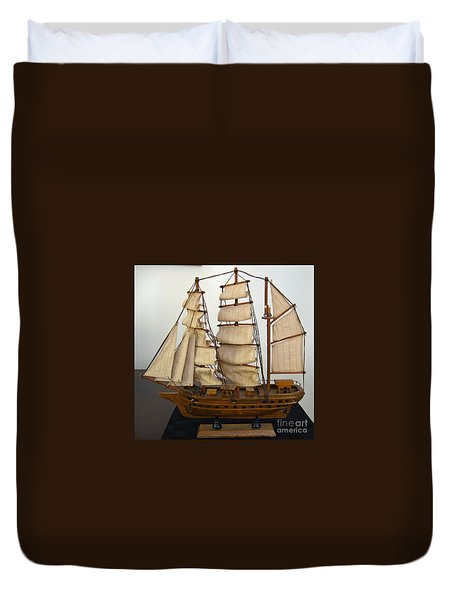 Model Sailing Ship Duvet Cover