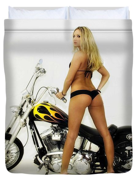 Models And Motorcycles_j Duvet Cover