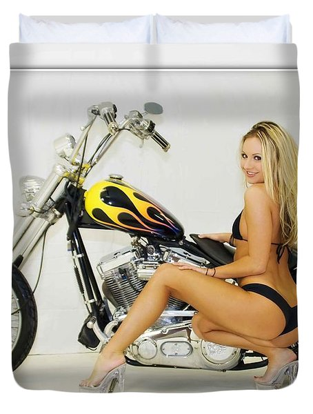 Models And Motorcycles_l Duvet Cover