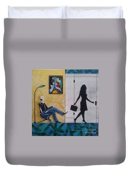 Modern Businessman Sitting In Chair Duvet Cover by John Lyes
