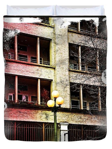 Modern Grungy City Building  Duvet Cover by Valerie Garner