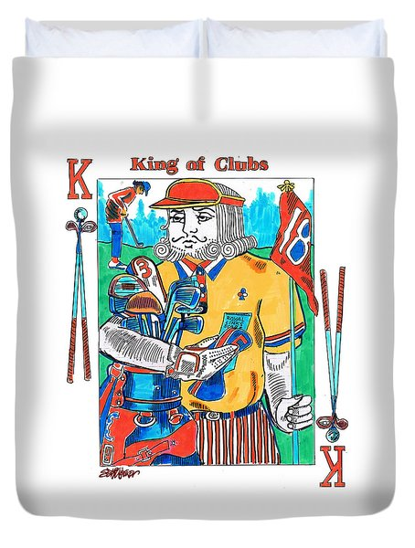 Modern King O' Clubs Duvet Cover by Seth Weaver