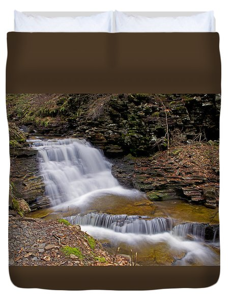 Mohican Falls In Spring Duvet Cover