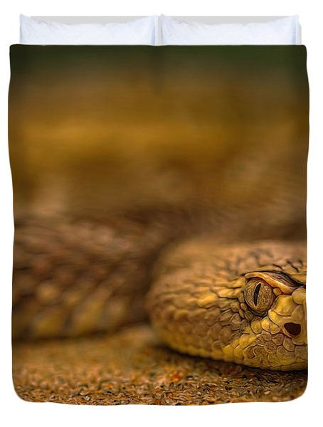 Duvet Cover featuring the photograph Mojave Rattlesnake  by Brian Cross