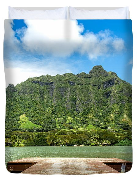 Molii Fishpond 1 Duvet Cover by Leigh Anne Meeks