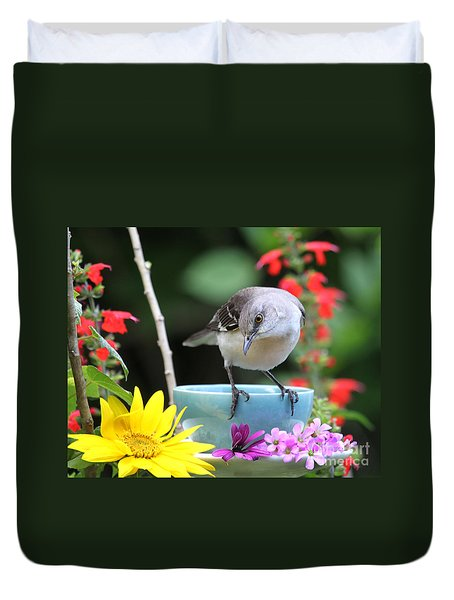Mockingbird And Teacup Photo Duvet Cover