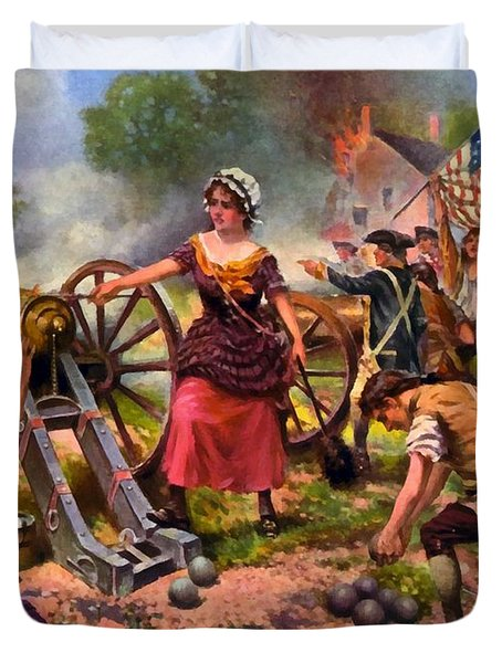 Molly Pitcher Firing Cannon At Battle Of Monmouth Duvet Cover