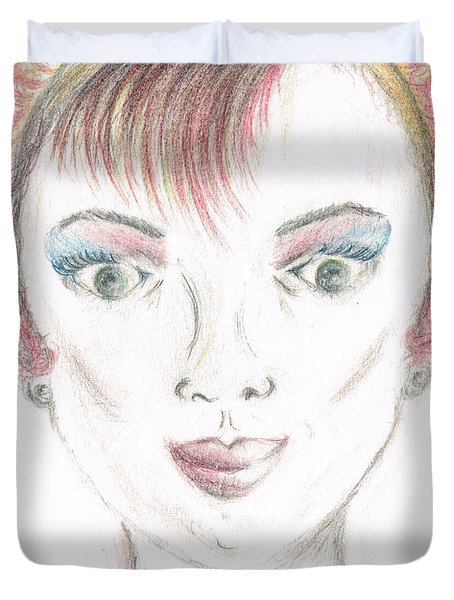 Duvet Cover featuring the drawing Mollys Makeover/ Pink Day by Teresa White