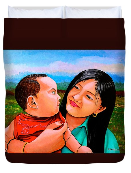 Mom And Babe Duvet Cover