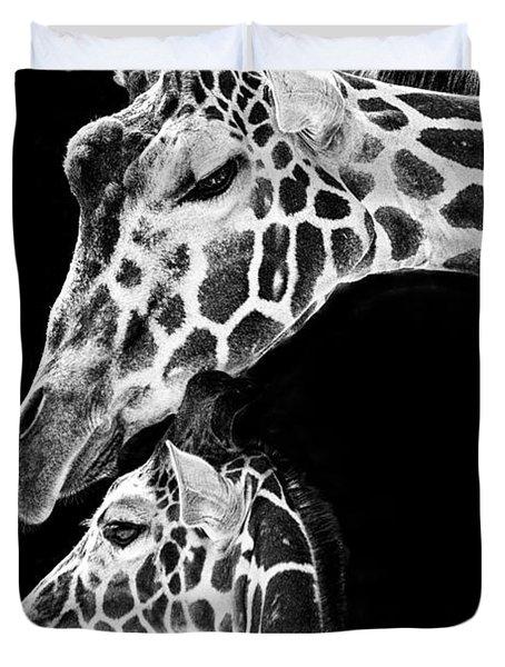 Mom And Baby Giraffe  Duvet Cover by Adam Romanowicz