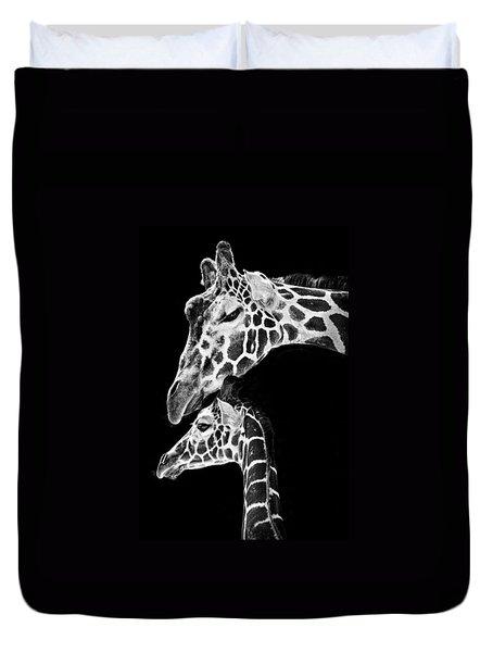Mom And Baby Giraffe  Duvet Cover