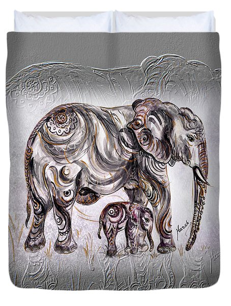 Mom Elephant Duvet Cover