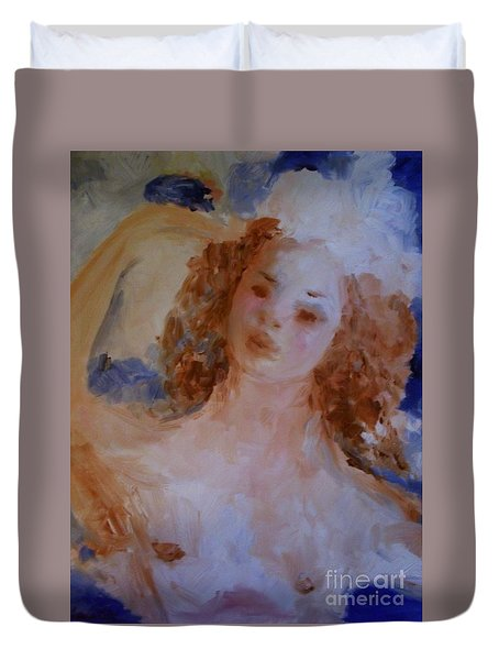 Duvet Cover featuring the painting Mom Near Jupiter by Laurie Lundquist